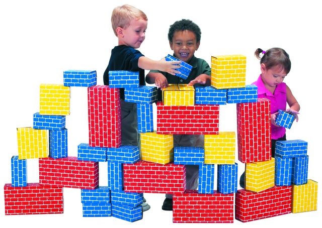 Cardboard blocks for building castle city and the for Center block house