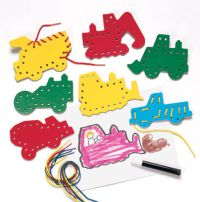 lacing cards construction vehicles