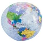 Clear World Globe Beach Ball Political